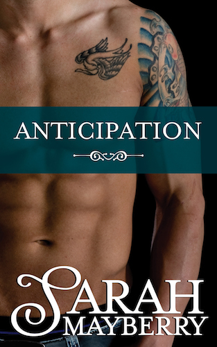 Cover for anticipation by Sarah Mayberry - Headless, shirtless man with abs and tattoos on his chest and upper arm
