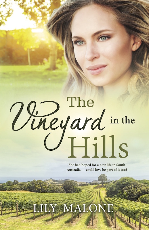 The Vineyard in the Hills by Lily Malone - A woman's face superimposed on a picture of a vineyard