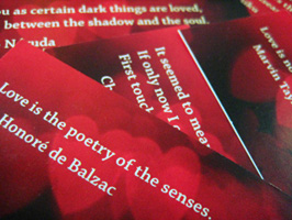 Calling cards with quotes on love and romance (by the Australian Poetry Centre)